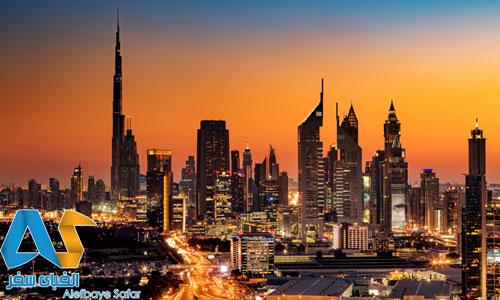 غروب آفتاب در شهر دبی